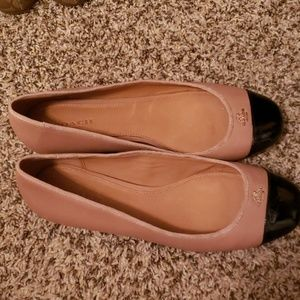 NEW Tan Coach Flats with Black Toe